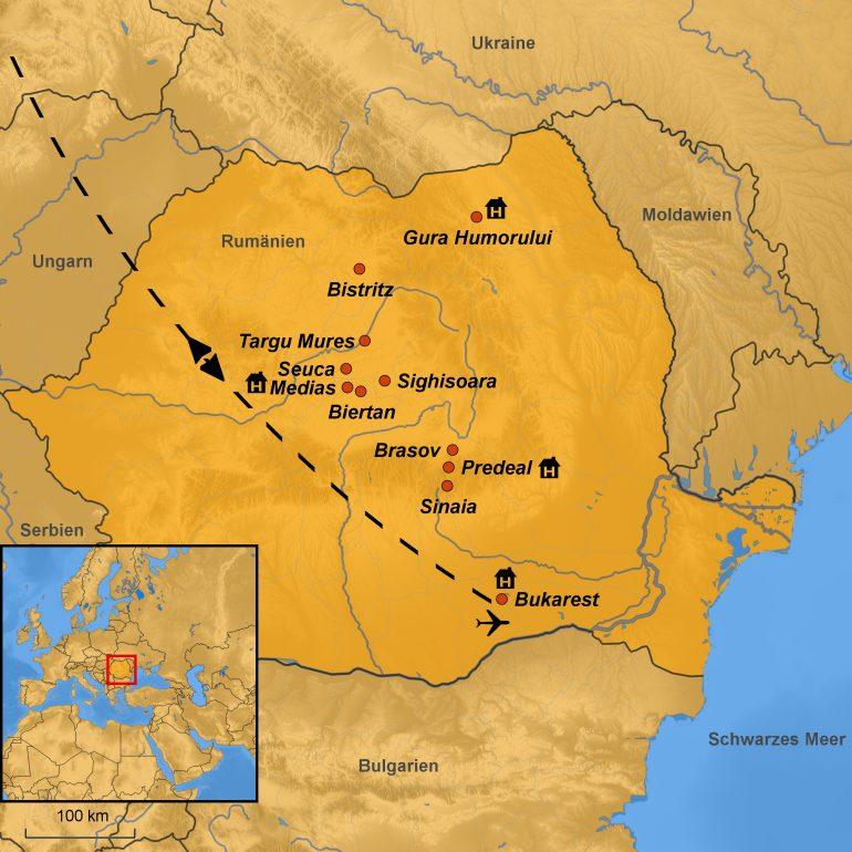 Stepmapkarte Rumänien, Besichtigungspunkte, Gruppenreise Rumänien